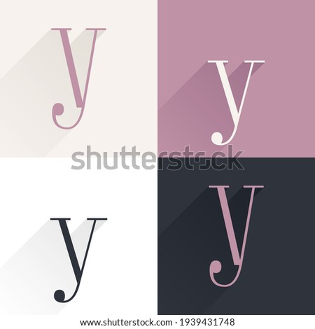 Y letter condensed serif font set. Perfect to use in elegant branding, luxury logo, wedding invitation, classic layout and more. Foto stock ©