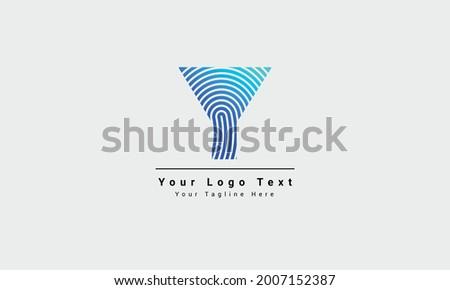Y letter line logo. Vector fingerprint design. Letter y with fingerprint design logo template illustration. Fingerprint Line Y Alphabet Font Vector Template, Fingerprint Y letter vector template logo. Foto stock ©
