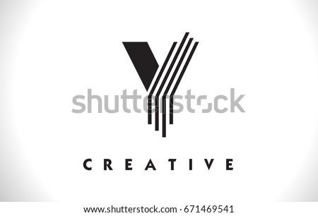 Y Letter Logo With Black Lines Design. Line Letter Symbol Vector Illustration