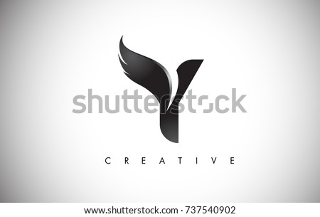 Y Letter Wings Logo Design Icon. Flying Wing Letter Logo with Creative Black Wing Concept. Foto stock ©