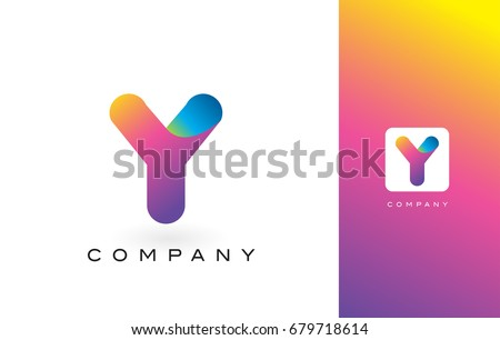 Y Logo Letter With Rainbow Vibrant Colors.Y Colorful Modern Trendy Purple and Magenta Letters Vector Illustration.