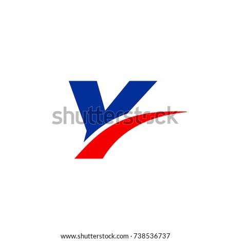 Y logo, Y initial overlapping swoosh letter logo blue and red