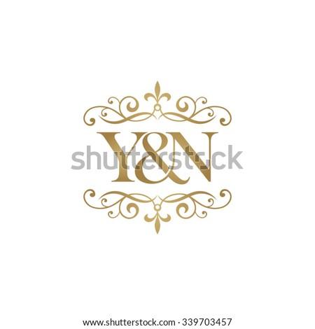 Y&N Initial logo. Ornament ampersand monogram golden logo Stok fotoğraf ©