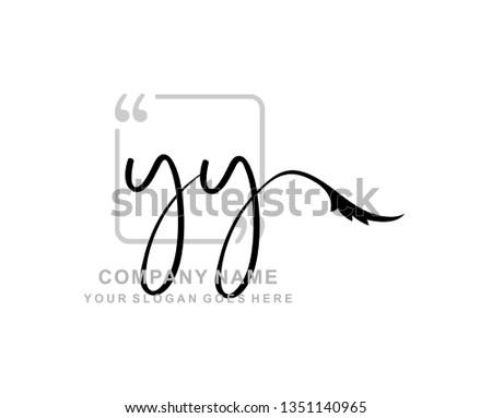 Y Y Initial Handwriting Logo Template