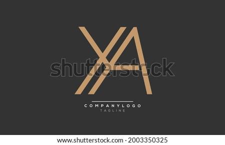 YA initials monogram letter text alphabet logo design Stok fotoğraf ©