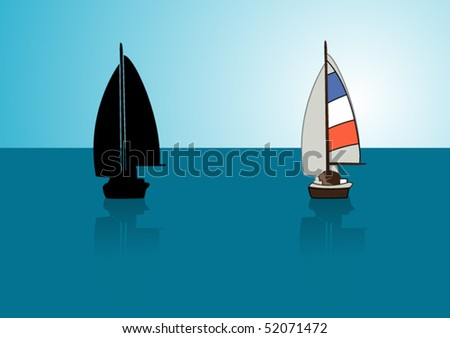 Yacht and its silhouette