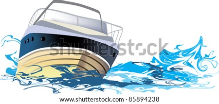 yacht at sea, vector illustration