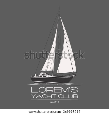 Yacht club logo badge sailboat water wave label on grey background. Vector. Editable