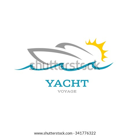 yacht club logo sea or ocean trip adventure concept