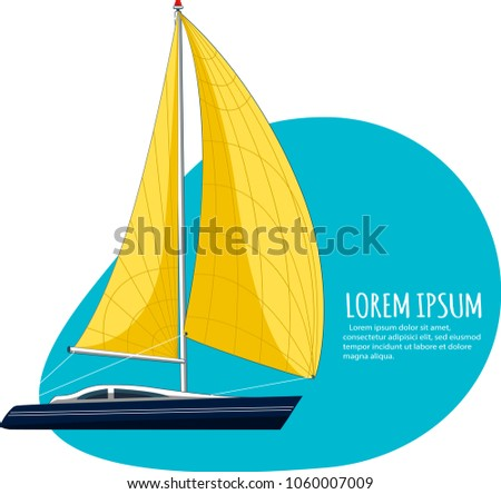 Yacht club sticker with sail boat. Luxury yacht race, sea sailing regatta badge vector illustration. Nautical worldwide recreation and traveling promotion layout with space for text.