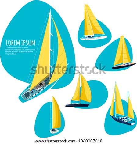Yacht club stickers with sail boat. Luxury yacht race, sea sailing regatta badge vector illustration. Nautical worldwide traveling promotion layout.