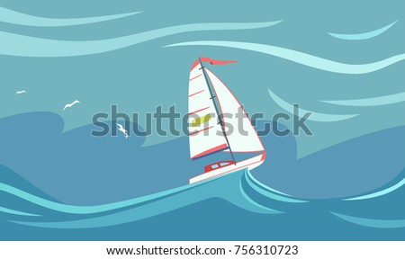 Yacht during a storm in the ocean. A sailboat on the crest of a sea wave. Vector illustration EPS-8.