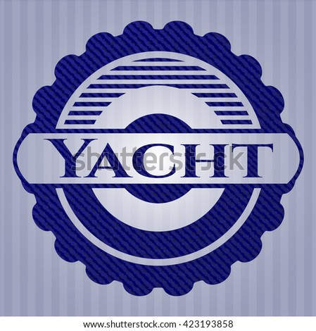Yacht emblem with jean background