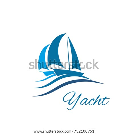 picnetz yacht icon for sport club or sea travel agency design