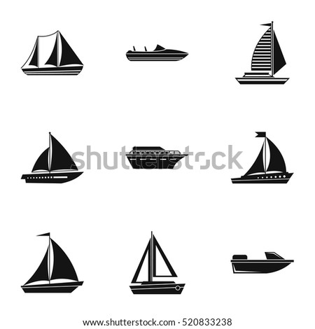 Yacht icons set. Simple illustration of 9 yacht vector icons for web