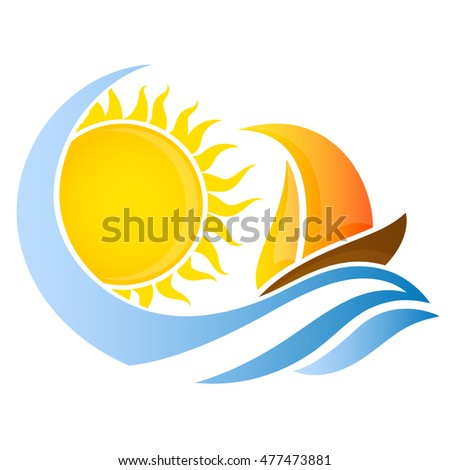 yacht on wave and the sun for