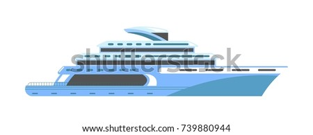 Yacht or ship cruise liner or speedboat vector flat isolated icon