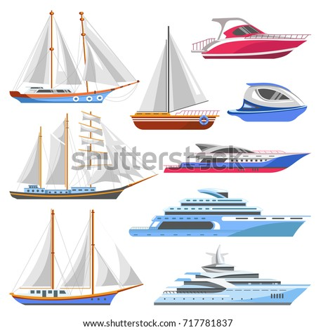 Yacht sailboat or sailing ship and sea marine cruise boat vector flat icons