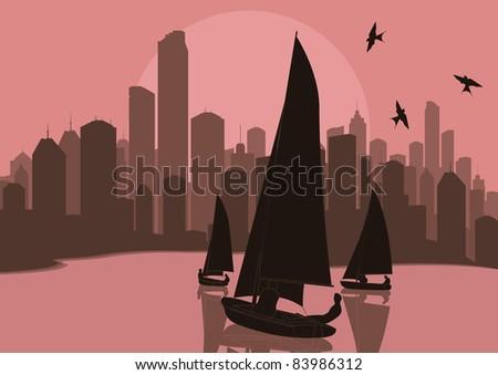 yacht sailing in skyscraper