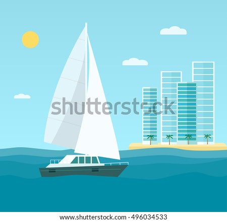 yacht  skyscrapers  seascape