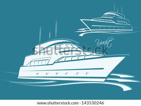 YACHT symbol silhouette and outline vector