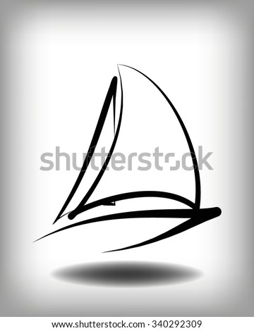 Yacht vector logo templates. Yachts silhouettes. Vector line yachts icon,  vector illustration. Yachting and regatta symbols
