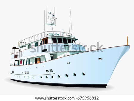 Yacht vector, realistic painted ship with many details, isolated on white background
