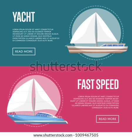 Yachting and cruising yachts flyers with sailboats. Marine explore tour advertising, trip on speedy cruise ship, world regatta competition. Sea voyage on luxury sail yacht vector illustration.