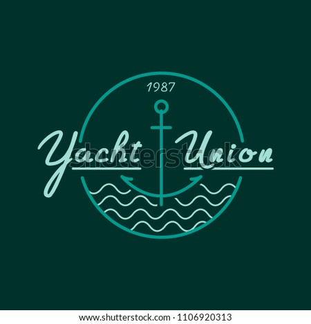 Yachting club logo set. Yachting, yahct club logo set with boad, sail and yacht. Yacht sport yachting club set.