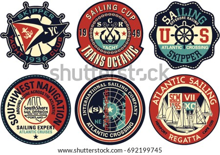 Yachting sailing vector badges collection, artwork for textile prints or embroideries