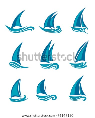 Yachts and sailboats symbols isolated on white. Vector illustration