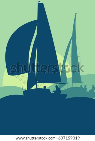 Yachts sailing regatta ocean landscape with sunset vector