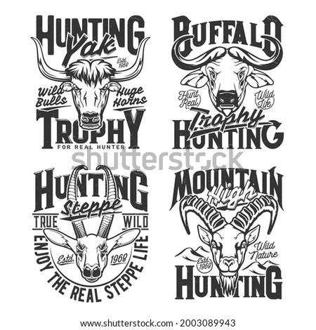 Yak, Cape buffalo and gazelle, goat hunting t-shirt print sketch vector template. Steppe, savanna and mountain big horned animals trophy hunting apparel custom prints with african fauna and typography Stok fotoğraf ©