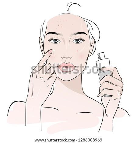 yang woman applying lotion face