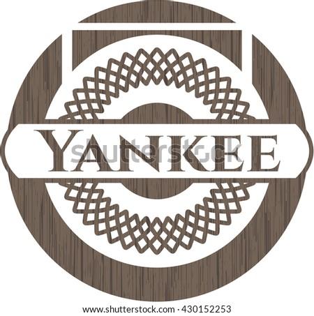 Yankee retro style wood emblem