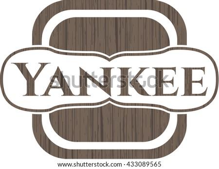 Yankee retro style wooden emblem