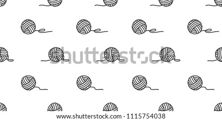 yarn ball seamless pattern vector balls of yarn knitting needles background wallpaper isolated