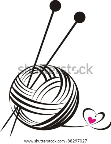 yarn ball with needles isolated on White background. Vector illustration