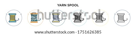 Yarn spool icon in filled, thin line, outline and stroke style. Vector illustration of two colored and black yarn spool vector icons designs can be used for mobile, ui, web