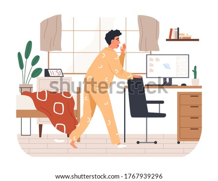 Yawn freelancer man missing the deadline vector flat illustration. Remotely work employee overslept late making distant job isolated on white. Morning male having incomplete assignment on computer