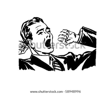 Yawning And Stretching - Retro Clip Art