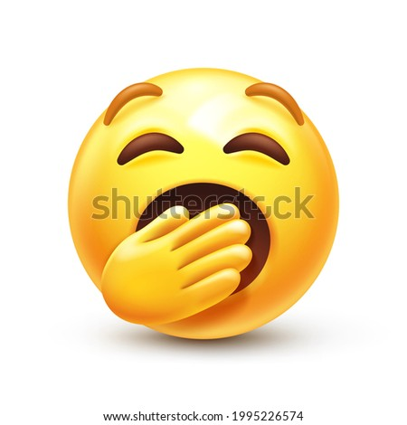 Yawning emoji. Bored or sleepy emoticon, yellow boredom face with mouth covered by hand 3D stylized vector icon Photo stock ©