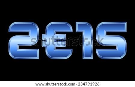year 2015   blue metal numbers