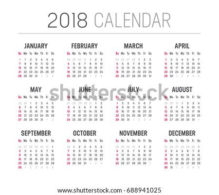 Year 2018 calendar - minimalist vector template