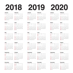 Year 2018 2019 2020 calendar vector design template, simple and clean design