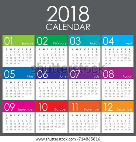 Year 2018 calendar vector design template, simple and clean design