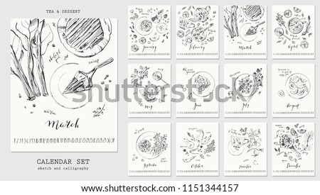 Year calendar with ink calligraphy elements and seasonal dessert sketch drawings. Fruit, berries, cakes, rhubarb pie, spicy pear, marshmallow, lemonade, tea, mulled wine with recipe ingredients.