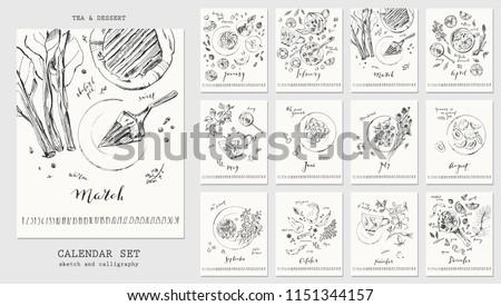 Year calendar with ink calligraphy elements and seasonal dessert sketch drawings. Fruit, berries, cakes, rhubarb pie, spicy pear, marshmallow, lemonade, tea, mulled wine with recipe ingredients.