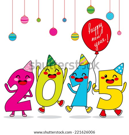Year 2015 cartoon number characters celebrating happy new year party