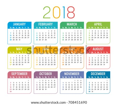 Year 2018 colorful calendar, isolated on a white background